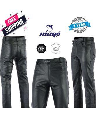 Maqo Top Grain Leather Jeans Trouser