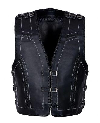 Mens Motorcycle Cowhide Leather Vest Waistcoat