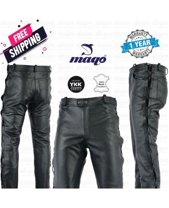 Maqo Top Grain Leather Disco Pant Side Laced Trouser