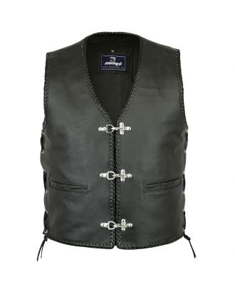 Mens Motorcycle fishhook buckles side laced Leather Vest