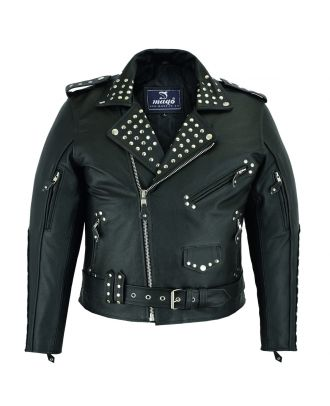 Mens Classic Motorcycle Studs Brando Leather Jacket
