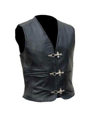 Mens Genuine Leather Motorcycle fishhook buckles Vest