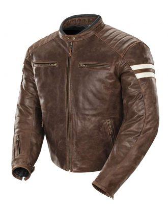 Mens Motorbike Motorcycle Antique Leather Stripes Jacket